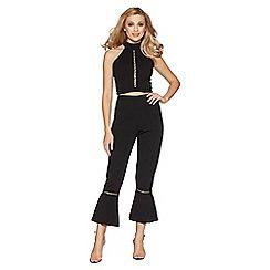 Quiz - Black cut out frill hem trousers