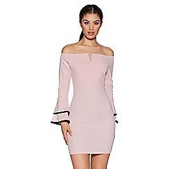 Quiz - Pink and black bardot frill sleeve bodycon dress