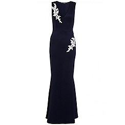 Quiz - Navy and cream embroidered fishtail maxi dress