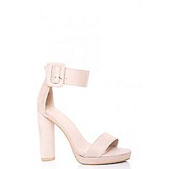 Quiz - Nude faux suede buckle platform heels