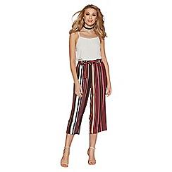 Quiz - Black and orange stripe culotte trousers