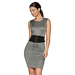 Quiz - Khaki Ribbed Corset Front Bodycon Dress