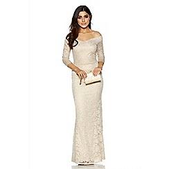 Quiz - Gold Lace Bardot Fishtail Maxi Dress