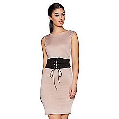 Quiz - Pink Ribbed Corset Front Bodycon Dress