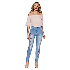 Quiz - Light Blue Ripped Embroidered Jeans