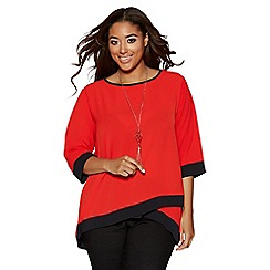 Quiz - Curve Orange Contrast 3/4 Sleeve Necklace Top