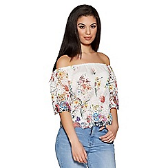 Quiz - Cream and pink lace floral bardot top