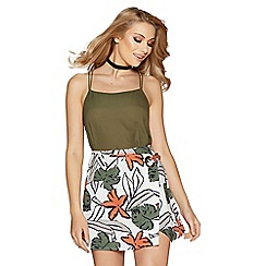 Quiz - Cream and khaki tropical print skirt