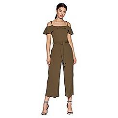 Quiz - Khaki Crepe Bardot Culotte Jumpsuit