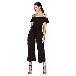 Quiz - Black Crepe Culotte Jumpsuit