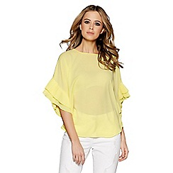 Quiz - Lemon pleated sleeves dip hem top