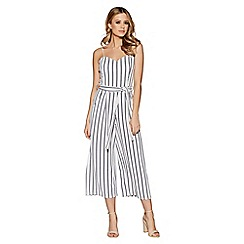 Quiz - White And Navy Stripe Tie Belt Culotte Jumpsuit