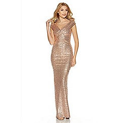 Quiz - Rose Gold Sequin Cross Front Bardot Maxi Dress