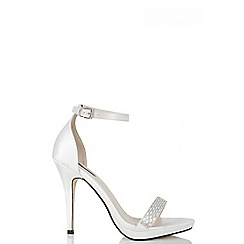 Quiz - White satin diamante barely there heels