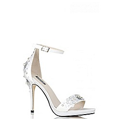 Quiz - White satin sequin embellished barely there heels
