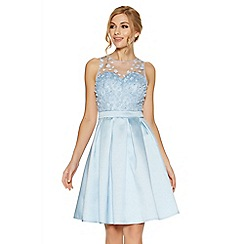 Quiz - Blue satin and mesh 3D flower prom dress