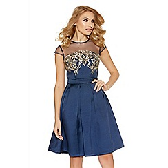 Quiz - Navy And Gold Sweetheart Neck Embellished Dress