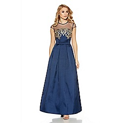 Quiz - Navy And Gold Sweetheart Neck Embellished Maxi Dress