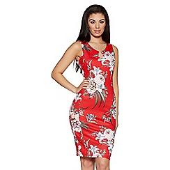 Quiz - Red Floral Print Sleeveless Midi Dress
