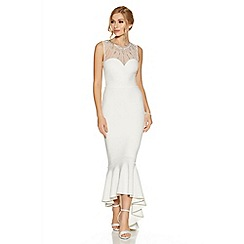Quiz - Pippa White Fishtail Dip Hem Bridal Dress