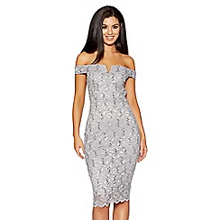 Quiz - Grey sequin lace bardot dress