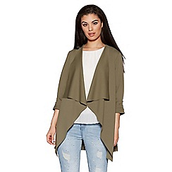 Quiz - Khaki Waterfall Ruched Front Jacket