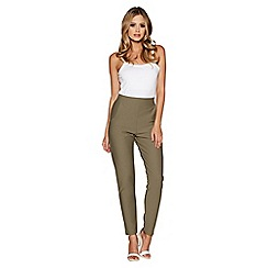 Quiz - Khaki high waist tapered leg trousers
