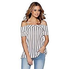 Quiz - White And Navy Stripe Cold Shoulder Swing Top