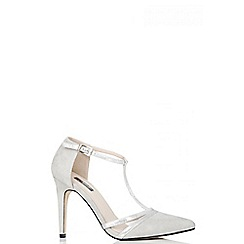 Quiz - Grey Faux Suede Shimmer T-Strap Courts