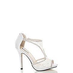 Quiz - White Lace Diamante T-Bar Sandals
