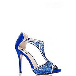 Quiz - Blue Lace Diamante T-Bar Sandals