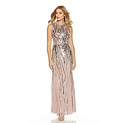 Quiz - Pink Sequin High Neck Fishtail Maxi Dress