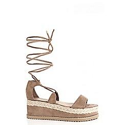 Quiz - Mocha lace up cork flatform sandals