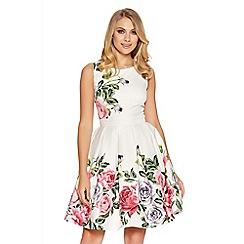 Quiz - Cream Floral Print Prom Dress