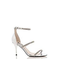 Quiz - Silver diamante multi strap barely there sandals