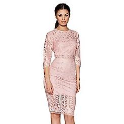 Quiz - Pale pink lace high neck midi dress