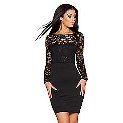 Quiz - Black lace plunge back bow detail dress