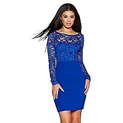 Quiz - Blue lace plunge back bow detail dress