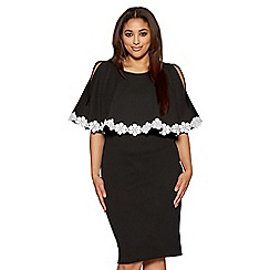 Quiz - Curve black and cream lace trim overlay dress