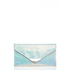Quiz - Iridescent snake print textured envelope bag
