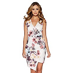 Quiz - Cream wrap front floral print dress