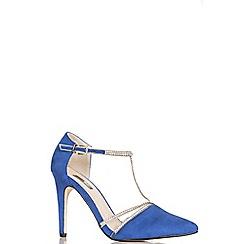 Quiz - Blue faux suede diamante t-strap court shoes