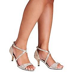 Quiz - Gold shimmer diamante low heel sandals