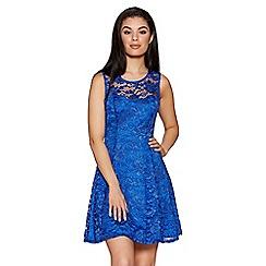 Quiz - Royal blue sweetheart lace skater dress