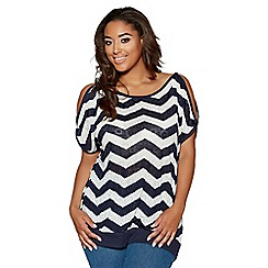 Quiz - Curve cream and navy printed cold shoulder top