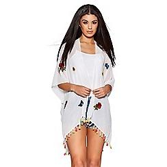 Quiz - White embroidered kimono