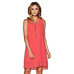 Quiz - Coral chiffon necklace tunic dress