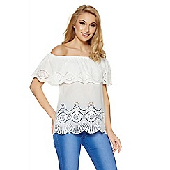 Quiz - White laser cut bardot top