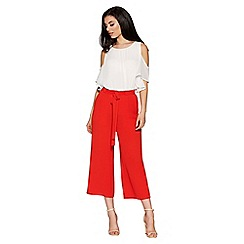 Quiz - Burnt orange tie waist culotte trousers