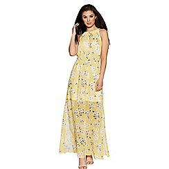 Quiz - Yellow and white  high neck floral maxi dress
